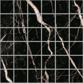(114p) Nero Marquina polished porcelain large square mosaic