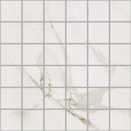 Statuario polished porcelain large square mosaic 30x30