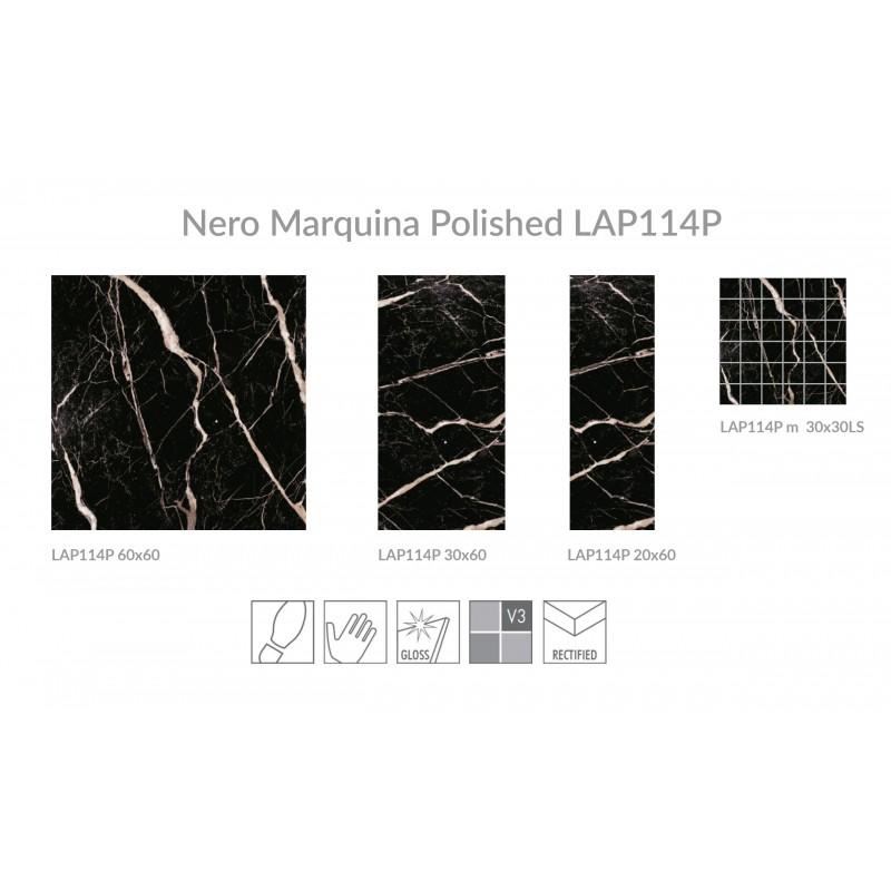 Nero Marquina Polished Porcelain 60x60 Laporsa