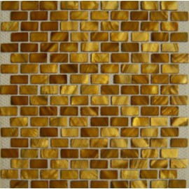 (OHSH-02R) Brown/Gold Shell Mosaic Rectangular