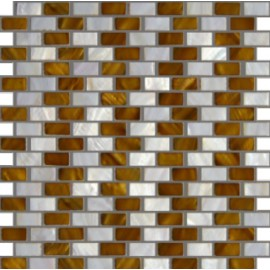 Cream & Brown Mixed Shell Mosaic Rectangular