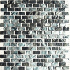 Blue/Grey & Brown Mixed Shell Mosaic Rectangular