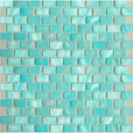 Aqua Blue Shell Mosaic Rectangular