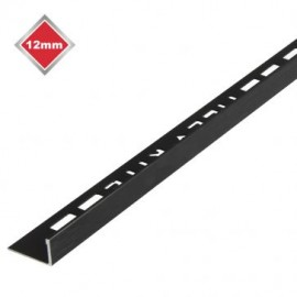12mm Black Brushed Metal Trim L Shape