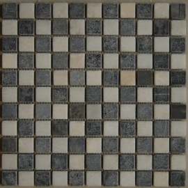 Black & White Travertine Mosaic